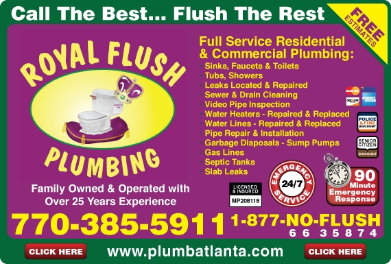 Exclusive Ad: 737-Royal Flush Plumbing, Inc.  7703855911 Logo