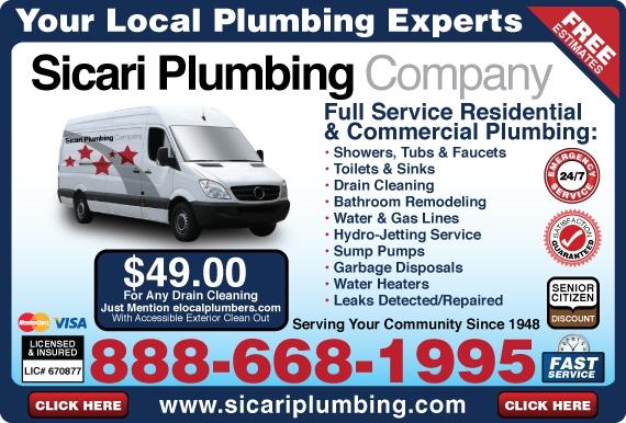 Exclusive Ad: Sicari Plumbing Company Sunland 8886681995 Logo