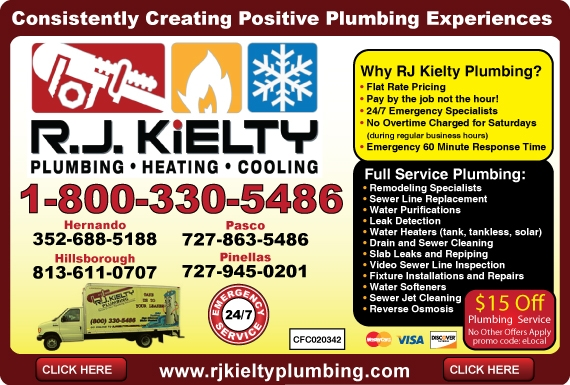 Exclusive Ad: R.J. Kielty Plumbing   7278635486 Logo