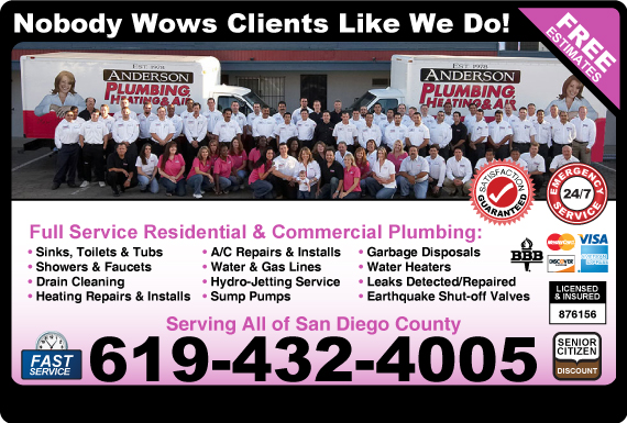 Exclusive Ad: Anderson Plumbing Heating & Air El Cajon 6196314087 Logo