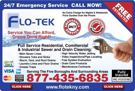 Exclusive Ad: Flo-Tek Sewer and Drain Cleaning  8774356835 Logo