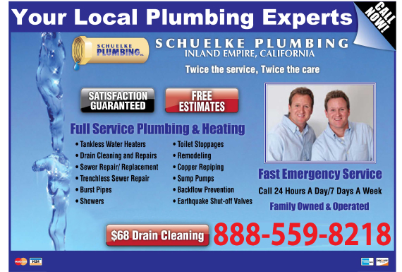 Exclusive Ad: Schuelke Plumbing - Inland Empire  8886270819 Logo