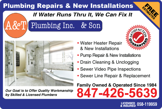 Exclusive Ad: A & T Plumbing Inc. & Son  8474265639 Logo