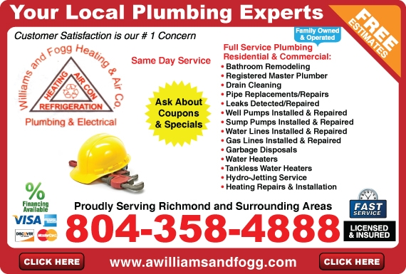 Exclusive Ad: Williams and Fogg Heating, Air, Plumbing & Electrical  8043584888 Logo