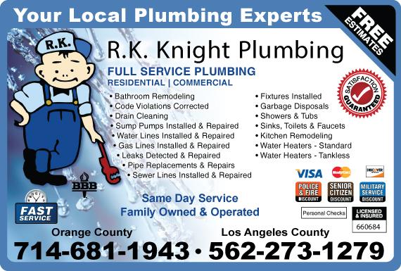 Exclusive Ad: R.K. Knight Plumbing  5629475588 Logo