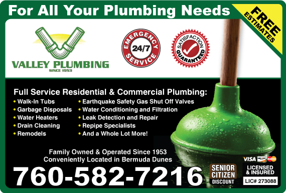 Exclusive Ad: Valley Plumbing Company Indio 7603464695 Logo