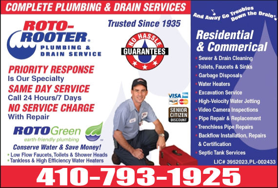 Exclusive Ad: Roto-Rooter Plumbing & Drain Service (410) Easton 4104799101 Logo