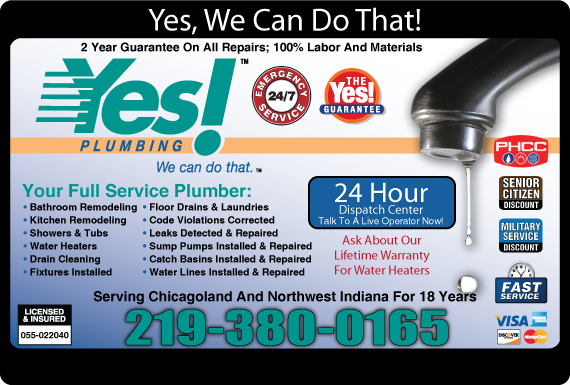Exclusive Ad: 66330-Yes! Plumbing  7086478090 Logo