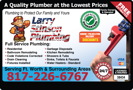 Exclusive Ad: Larry Stinson Plumbing  8172266767 Logo