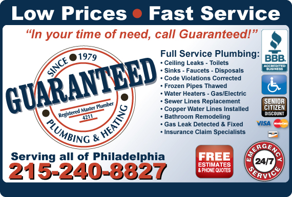 Exclusive Ad: Guaranteed Plumbing & Heating Inc Philadelphia 2156901600 Logo