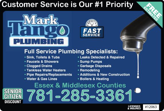 Exclusive Ad: Mark Tango Plumbing - 781 Reading 7814360630 Logo