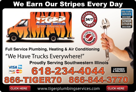 Exclusive Ad: Tiger Plumbing Services  6182344044 Logo