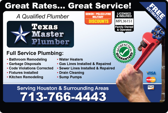 Exclusive Ad: Texas Master Plumber, LLC. Pearland 8327369561 Logo