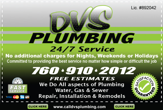 Exclusive Ad: DVS Plumbing  7609102012 Logo