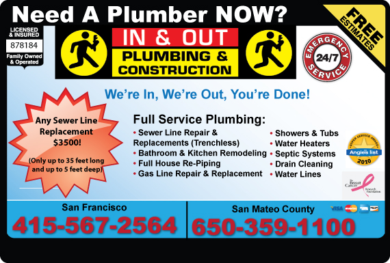 Exclusive Ad: In & Out Plumbing & Construction  4155672564 Logo