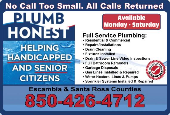 Exclusive Ad: Plumb Honest, Inc.  Pensacola 8507586237 Logo