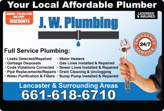 Exclusive Ad: J. W. Plumbing  6616186710 Logo