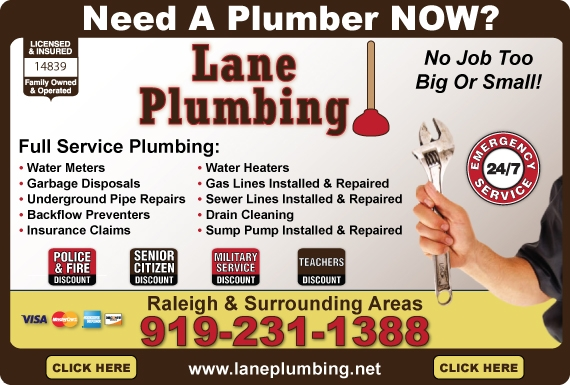 Exclusive Ad: 31619-Lane Plumbing Raleigh 9192311388 Logo