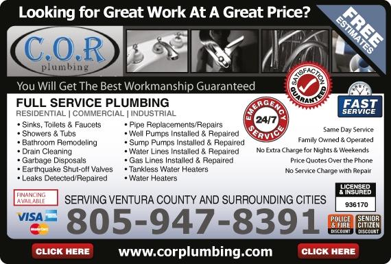 Exclusive Ad: C.O.R Plumbing  8059478391 Logo