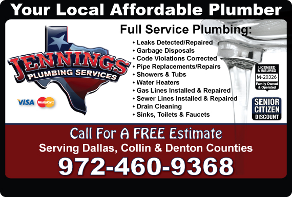 Exclusive Ad: Jennings Plumbing Services Carrollton 9723321570 Logo