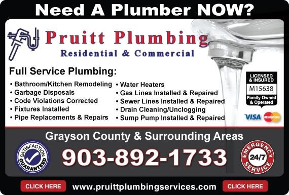 Exclusive Ad: Pruitt Plumbing  9038921733 Logo