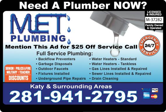 Exclusive Ad: MET Plumbing  2819374280 Logo