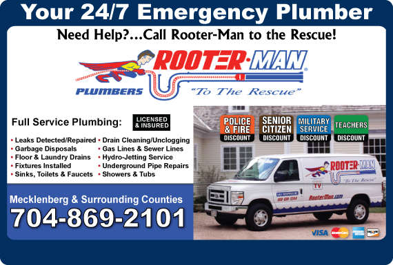 Exclusive Ad: Rooter-Man Plumbers Mooresville 7047690660 Logo