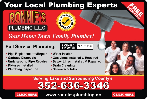 Exclusive Ad: Ronnie's Plumbing  3526363346 Logo
