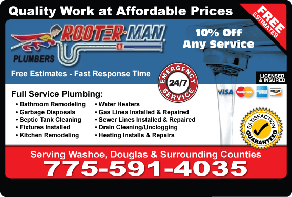 Exclusive Ad: A Rooter Man Plumbing-Nevada  7753223232 Logo