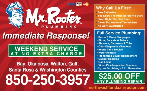 Exclusive Ad: Mr. Rooter Plumbing of Northwest Florida  8502503957 Logo