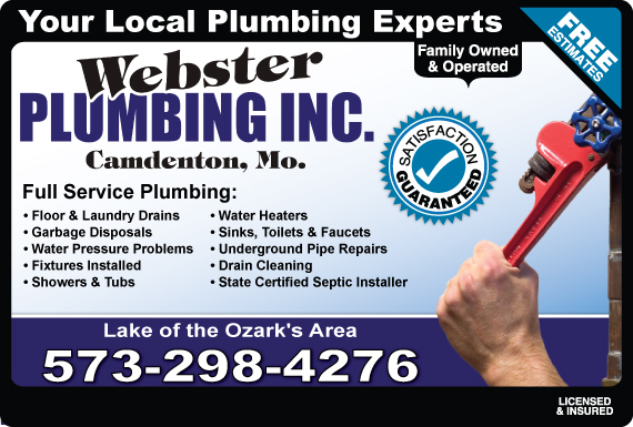 Exclusive Ad: Webster Plumbing Inc.  5733623700 Logo
