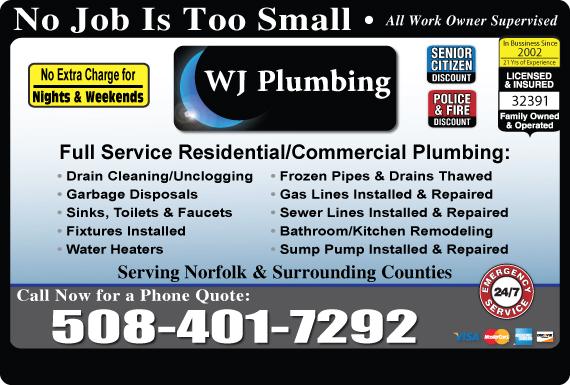 Exclusive Ad: WJ Plumbing  5087945860 Logo