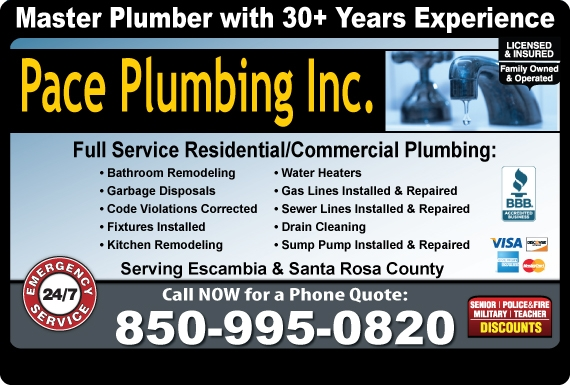 Exclusive Ad: Pace Plumbing Inc. Milton 8509950820 Logo