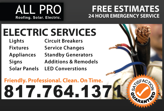 Exclusive Ad: ALL PRO Electric Keller 8177551890 Logo