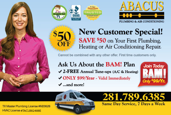 Exclusive Ad: Abacus Plumbing & Air Conditioning - A/C Houston 8777203554 Logo