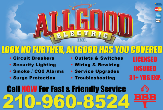 Exclusive Ad: Allgood Electric Inc. San Antonio 2104047600 Logo
