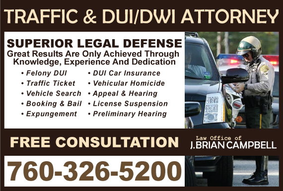 Exclusive Ad: Law Office of J. Brian Campbell Fontana 7603265200 Logo