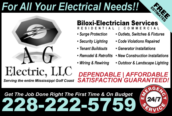 Exclusive Ad: AG Electric, LLC Biloxi 2286412840 Logo