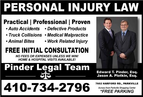Exclusive Ad: Pinder Legal Team - Jason A. Plotkin Esq. Parkville 4102205350 Logo