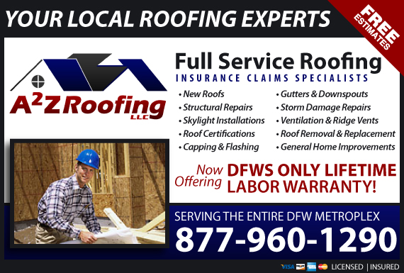 Exclusive Ad: A2Z Roofing LLC  8174016843 Logo