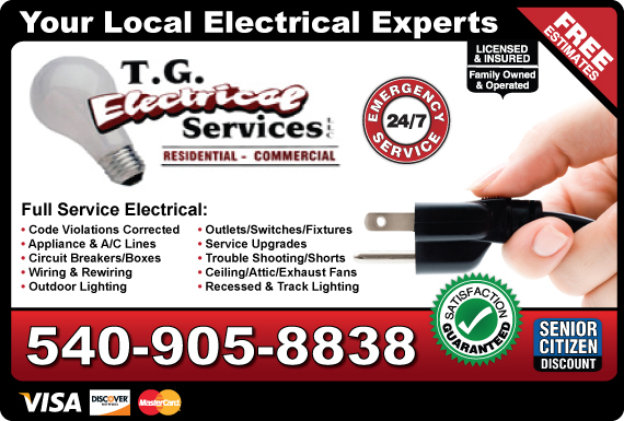 Exclusive Ad: T.G. Electrical Services, LLC Roanoke 5402056980 Logo
