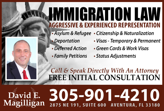 Exclusive Ad: David E. Magilligan Immigration Aventura 3059014210 Logo