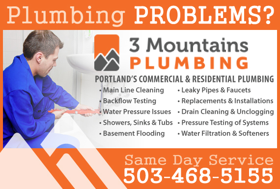 Exclusive Ad: 3 Mountains Plumbing  5034685155 Logo