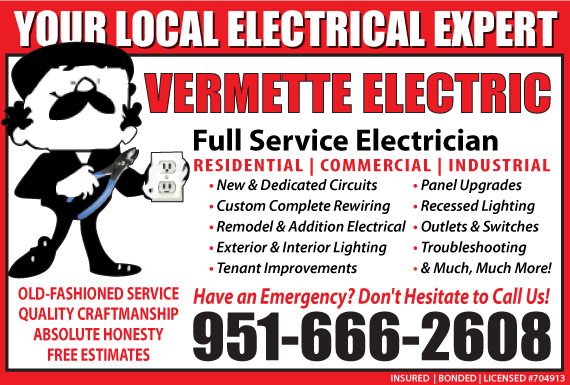 Exclusive Ad: Vermette Electric Mira Loma 9512280090 Logo