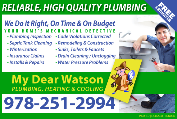 Exclusive Ad: My Dear Watson Plumbing Heating & Cooling North Chelmsford 9782512994 Logo