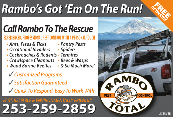 Exclusive Ad: Rambo Total Pest Control Puyallup 2538486000 Logo