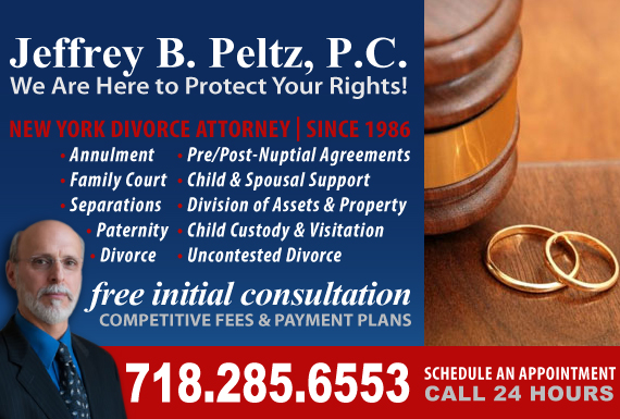 Exclusive Ad: Law Office of Jeffrey B. Peltz, P.C. Brooklyn 7182856553 Logo