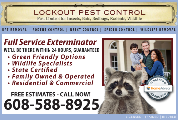 Exclusive Ad: Lockout Pest Control Brodhead 6082183640 Logo