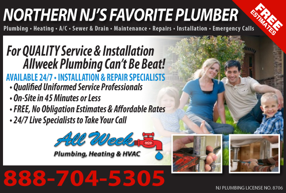 Exclusive Ad: All Week Plumbing & Heating Garfield 9732538793 Logo