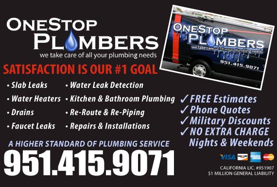 Exclusive Ad: OneStop Plumbers - Plumbing and Leak Detection Corona 9514159071 Logo